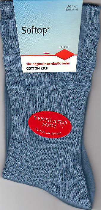 Ladies Plain Cotton Blend 'Softtop' Socks - HJ1093