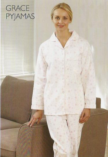 Womens 100% Brushed Cotton Long Sleeved Pyjama
